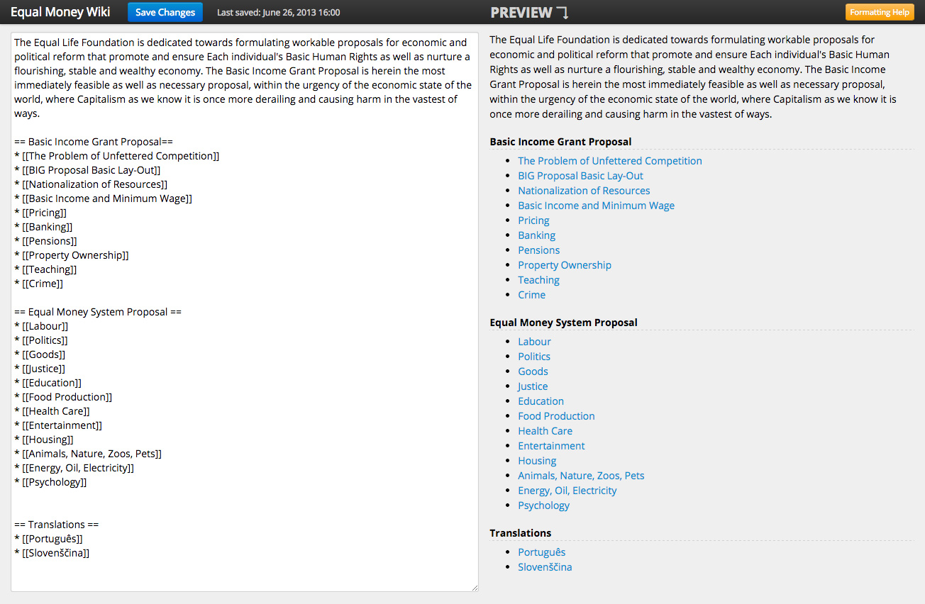 The Wiki editor is custom build, features live side-by-side preview and formatting help.