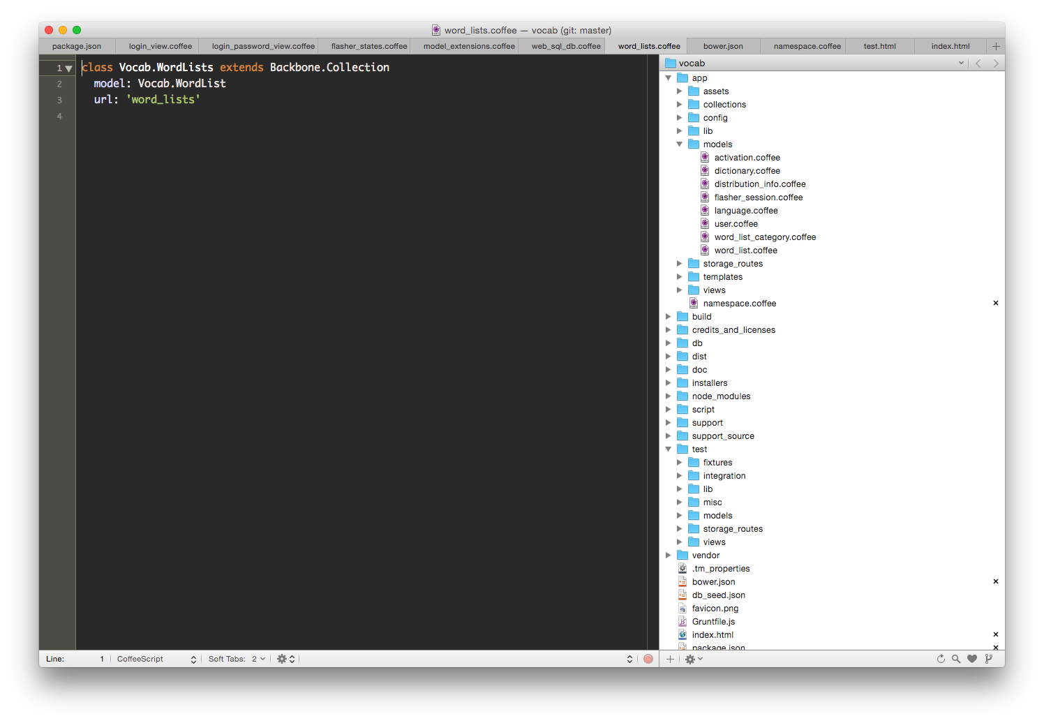 Code structure heavily influenced by Rails. Don't be fooled though, this is 100% client side, CoffeeScript, HTML & SASS.