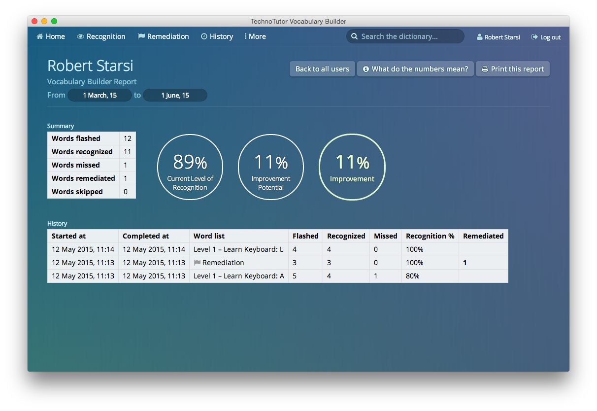 Detailed reports of user progress are available to both the current user as well as administrators.